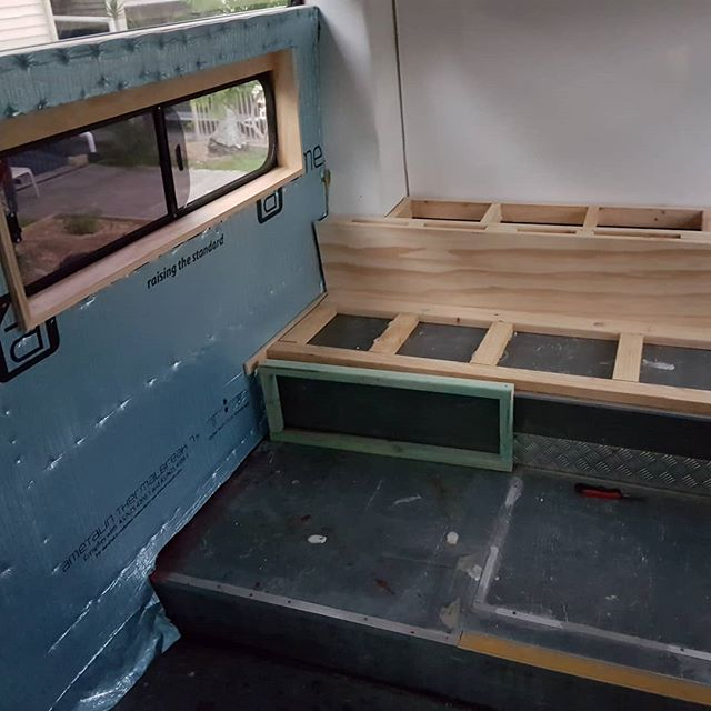 A general progress report. Lots of work with insulation, windows and walls. We're finally also getting started with building the furniture and it's super exciting. This is the beginning of the main bedroom (queen bed and book shelves at rear). We're planning to insulate under the bed (as it's situated above the engine). The bus starter batteries have been removed for a good charge and the battery box treated for rust. We've also been busy online buying electrical components like power points (double pole), usb charging sockets and exterior sensor lights. We're kind of all over the place but definitely moving in the right direction with the project. Stay tuned... #busconversion #buslife #bus #tinyhouse #skoolie #skoolieconversion #vanlife #offgrid #busbuild #rvlife #busnut #busrollwithit #livesmaller #nomad #happycamper #wander #wanderlust #homeiswhereyouparkit #ontheroad #buslifeaustralia #buslifeau