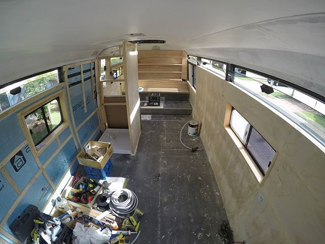 We're stoked with how the interior walls are coming along. Our original plan was to paint the interior walls (except the pine timbers around each window) but we're really liking the raw plywood look. It's been slow going, as we're finalising electrical plans as we go (so that we can run the wiring inside the walls). We're planning to finish off the nearside wall today and get started on the bunk beds. Very exciting! Have a great weekend everyone!  #busconversion #buslife #bus #tinyhouse #skoolie #skoolieconversion #vanlife #offgrid #busbuild #rvlife #busnut #busrollwithit #livesmaller #nomad #happycamper #wander #wanderlust #homeiswhereyouparkit #ontheroad #buslifeaustralia #buslifeau