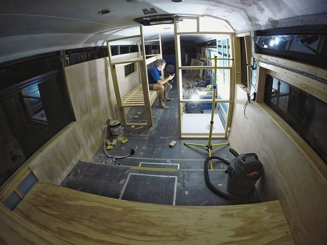 Another long and hot (but super productive) day and night working in Bronte the bus! We started building the boys' bunk beds today. Some excellent progress over the past week! ~ Keiran.  #busconversion #buslife #bus #tinyhouse #skoolie #skoolieconversion #vanlife #offgrid #busbuild #rvlife #busnut #busrollwithit #livesmaller #nomad #happycamper #wander #wanderlust #homeiswhereyouparkit #ontheroad #buslifeaustralia #buslifeau