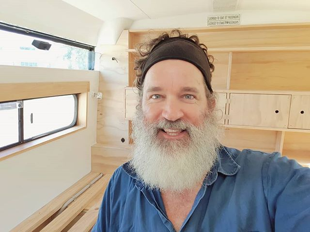 Getting my painting groove on in the bus today. A final coat of clear varnish for the timber work in the main bedroom. We can't wait to fill the bookshelves with books and plants and other things!  #busconversion #buslife #bus #tinyhouse #skoolie #skoolieconversion #schoolbusconversion #vanlife #offgrid #busbuild #rvlife #busnut #busrollwithit #livesmaller #nomad #happycamper #wander #wanderlust #homeiswhereyouparkit #ontheroad #buslifeaustralia #buslifeau #mybuslife #beard #beardsofinstagram