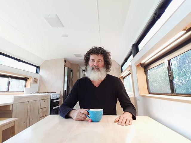 Rainy day procrastination in Bronte the bus. The interior is nearly finished now. As for that beard, it's still a work in progress! Happy Monday everyone! ~ Keiran.  #busconversion #buslife #bus #tinyhouse #skoolie #skoolieconversion #vanlife #offgrid #busbuild #rvlife #busnut #busrollwithit #livesmaller #nomad #happycamper #wander #wanderlust #homeiswhereyouparkit #ontheroad #buslifeaustralia #buslifeau #mybuslife